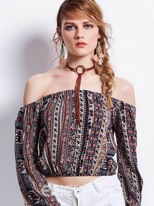 Ericdress Printed Off-The-Shoulder Floral Geometric Pattern Blouse