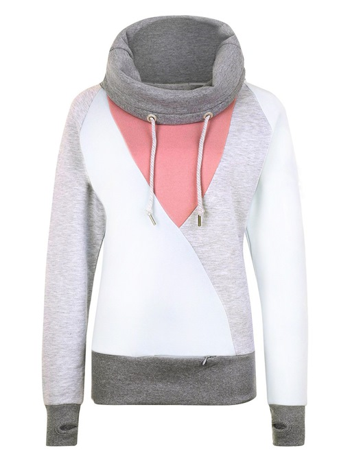 Ericdress Pullover Turtleneck Color Block Hoodie