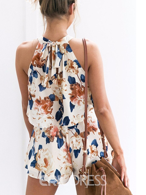 Ericdress Sleeveless Round Neck Flower Print Women's Two Piece Set