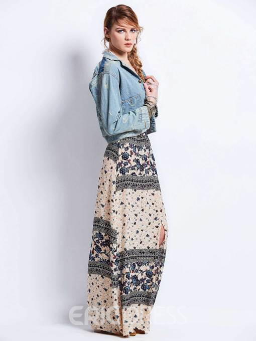 Color Block Flower Print Straight Women's Skirt
