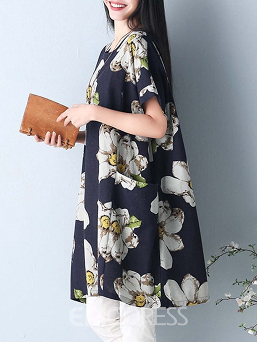 Ericdrss Flower Print Batwing Sleeve Pocket Casual Dress
