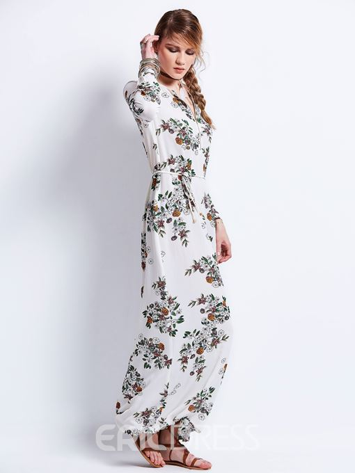 Ericdress Round Neck Flower Print Zipper Maxi Dress