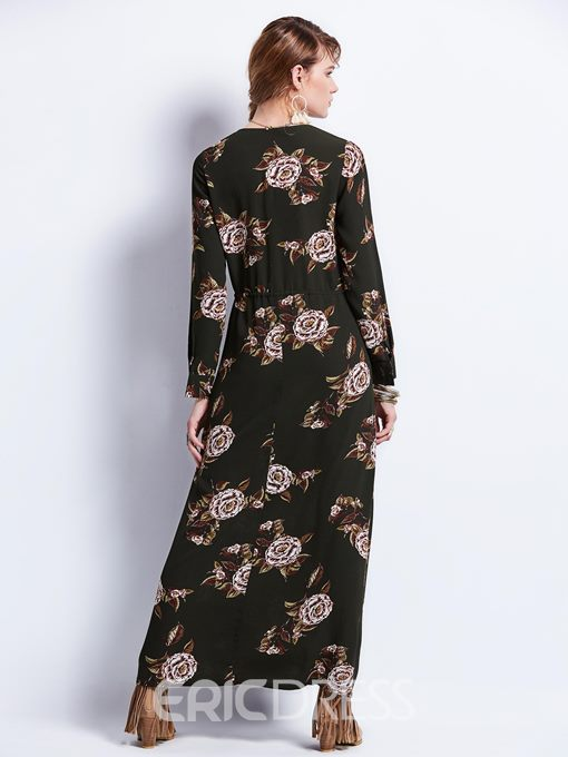 Ericdress V-Neck Zipper Print Maxi Dress