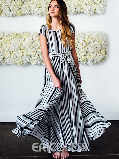 Ericdress Ankle-Length Lace-Up Striped Expansion Maxi Dress