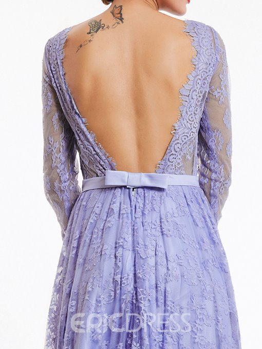 Ericdress Bateau Neck Backless A Line Lace Evening Dress