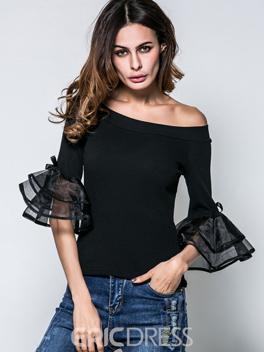 Ericdress Off-Shoulder Bell Sleeve Slim T-Shirt