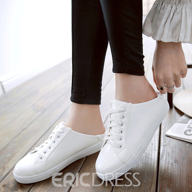 Ericdress Delicate Solid Color Lace up Flats