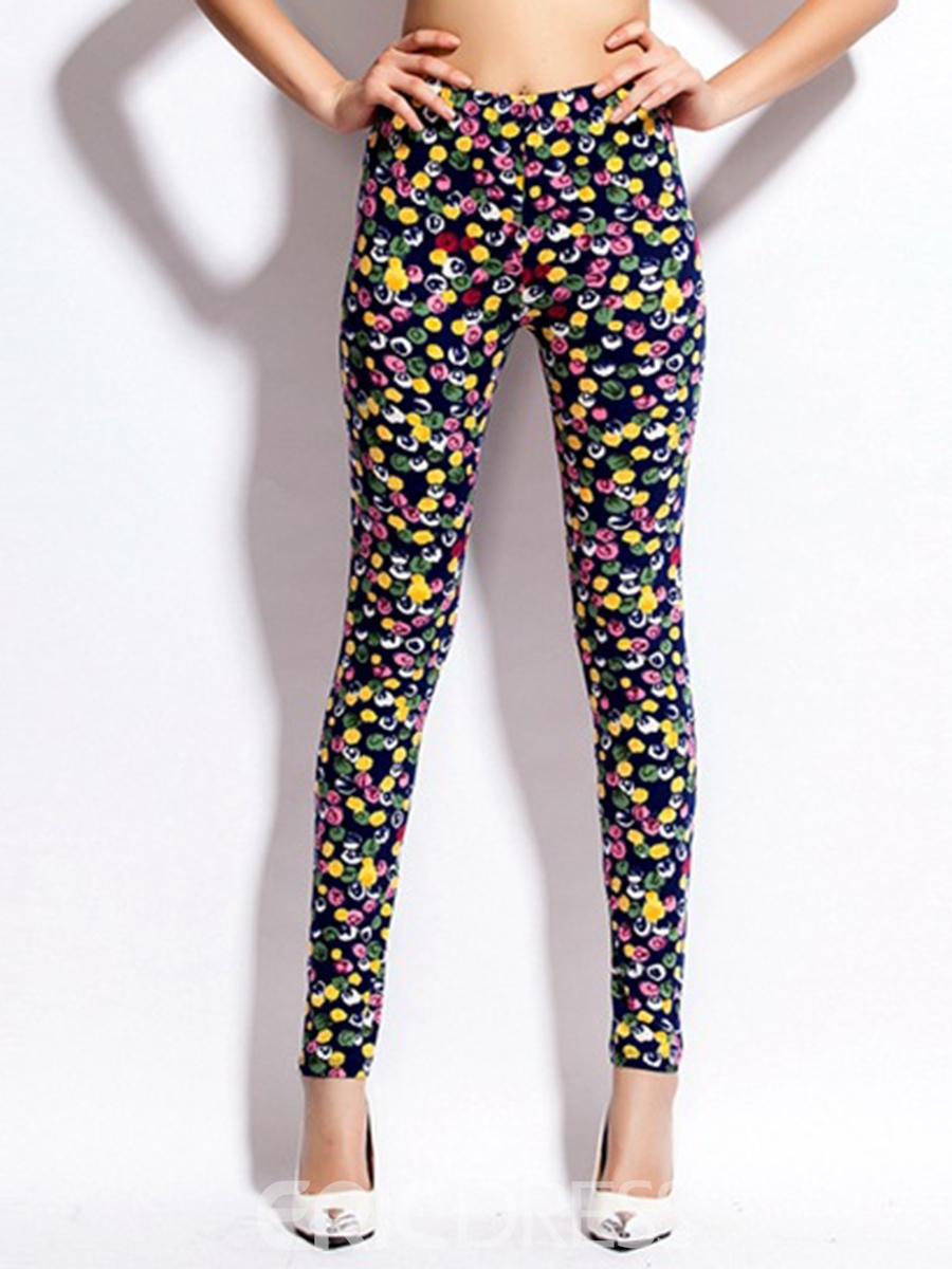 Ericdress High Waisted Flower Print Simple Women's Leggings