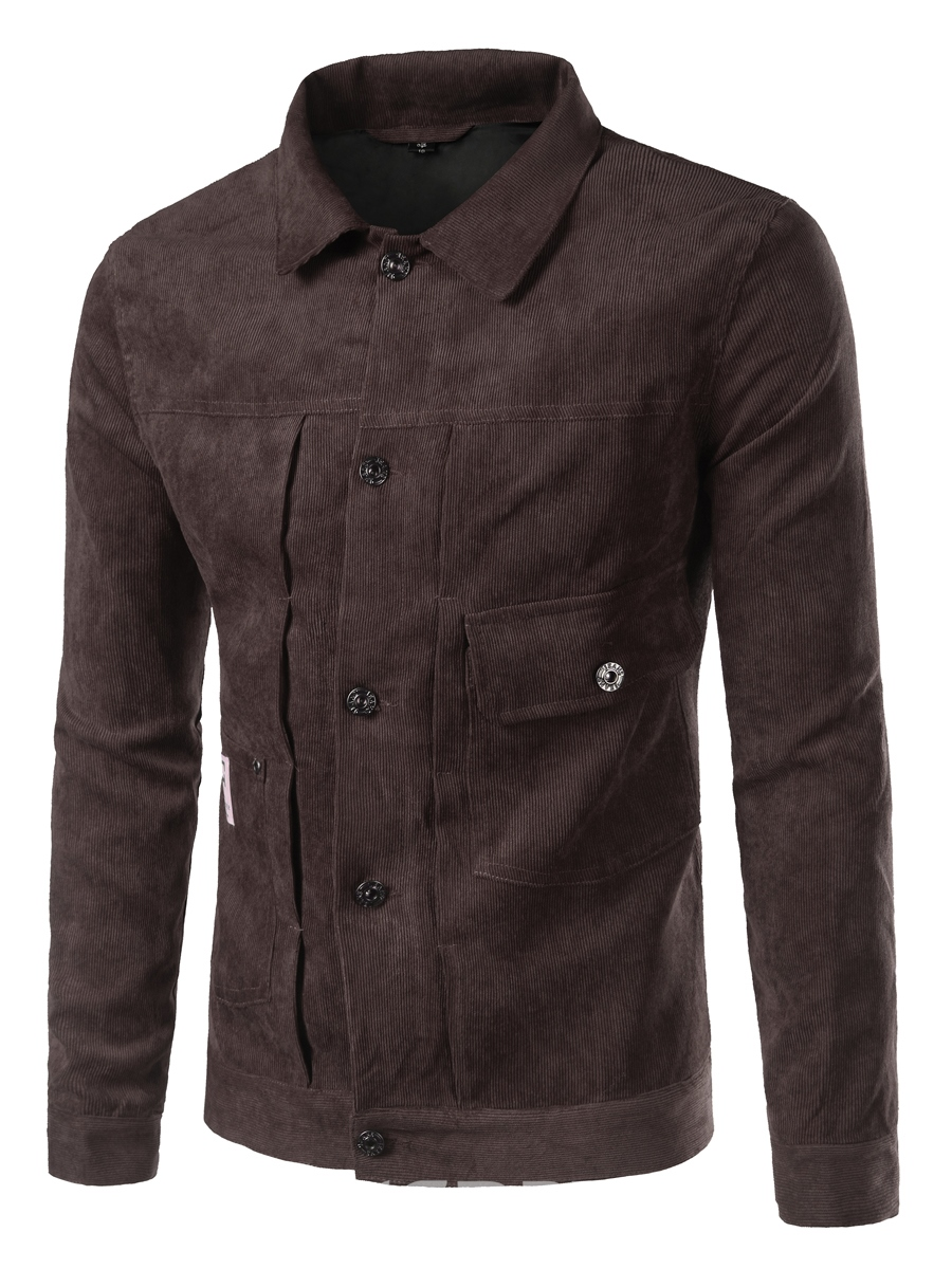 Ericdress Plain Single-Breasted Pocket Casual Men's Jacket