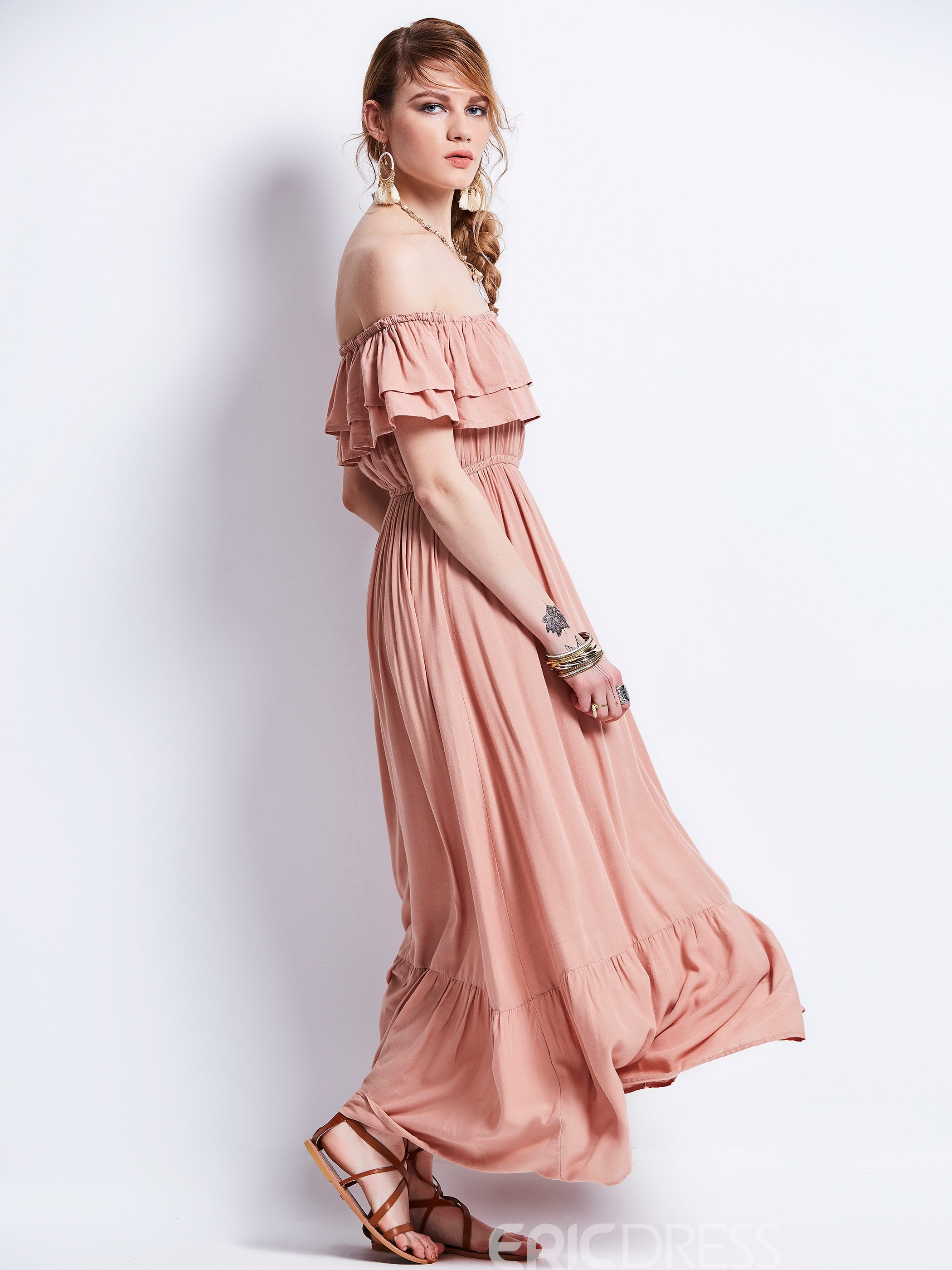 Ericdress Slash Neck Falbala Expansion Maxi Dress