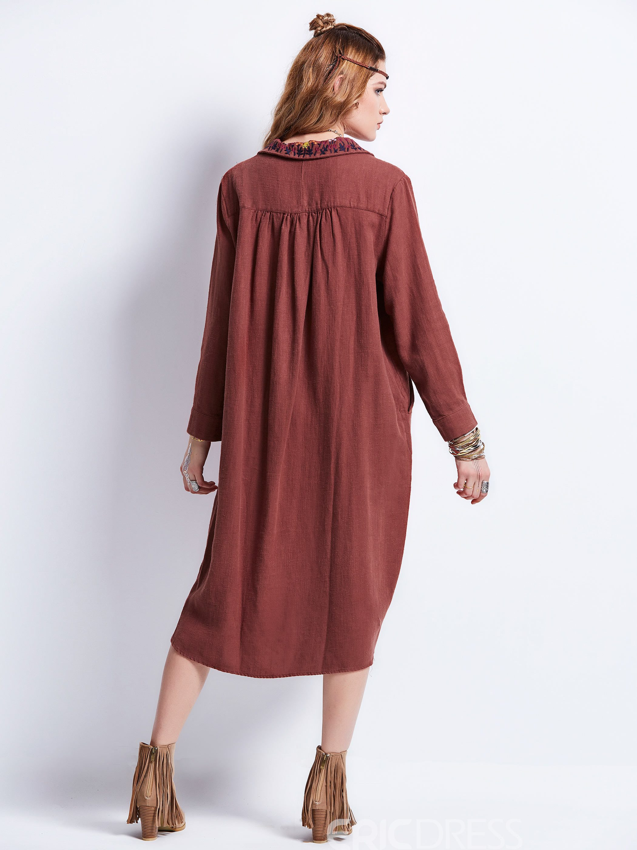Ericdress Lapel Single-Breasted Pocket Embroidery Trench Coat