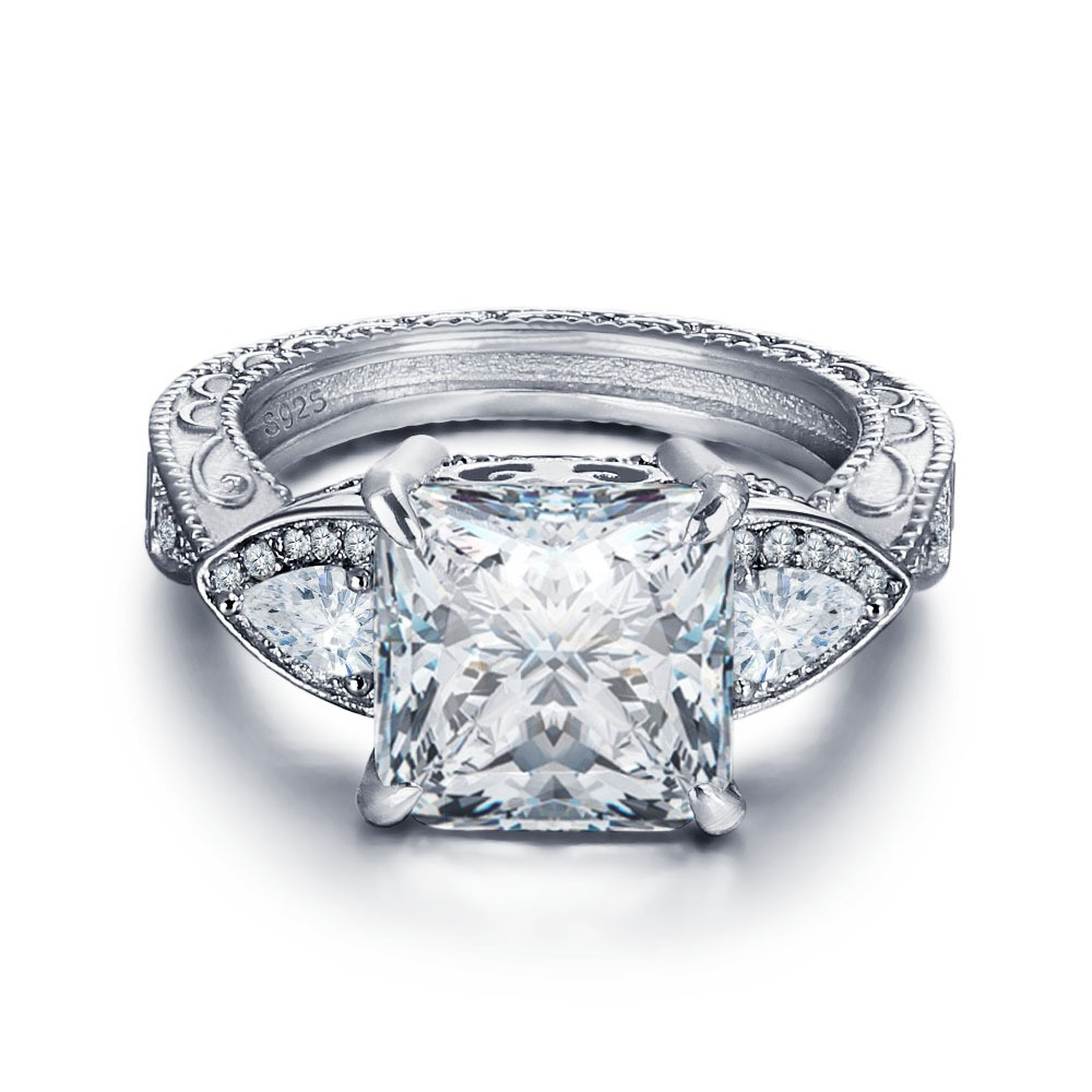 Ericdress S925 Silver Diamante Platinum Plating Wedding Ring