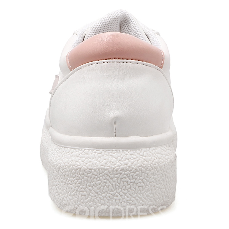 Ericdress White Round Toe Lace up Sneakers