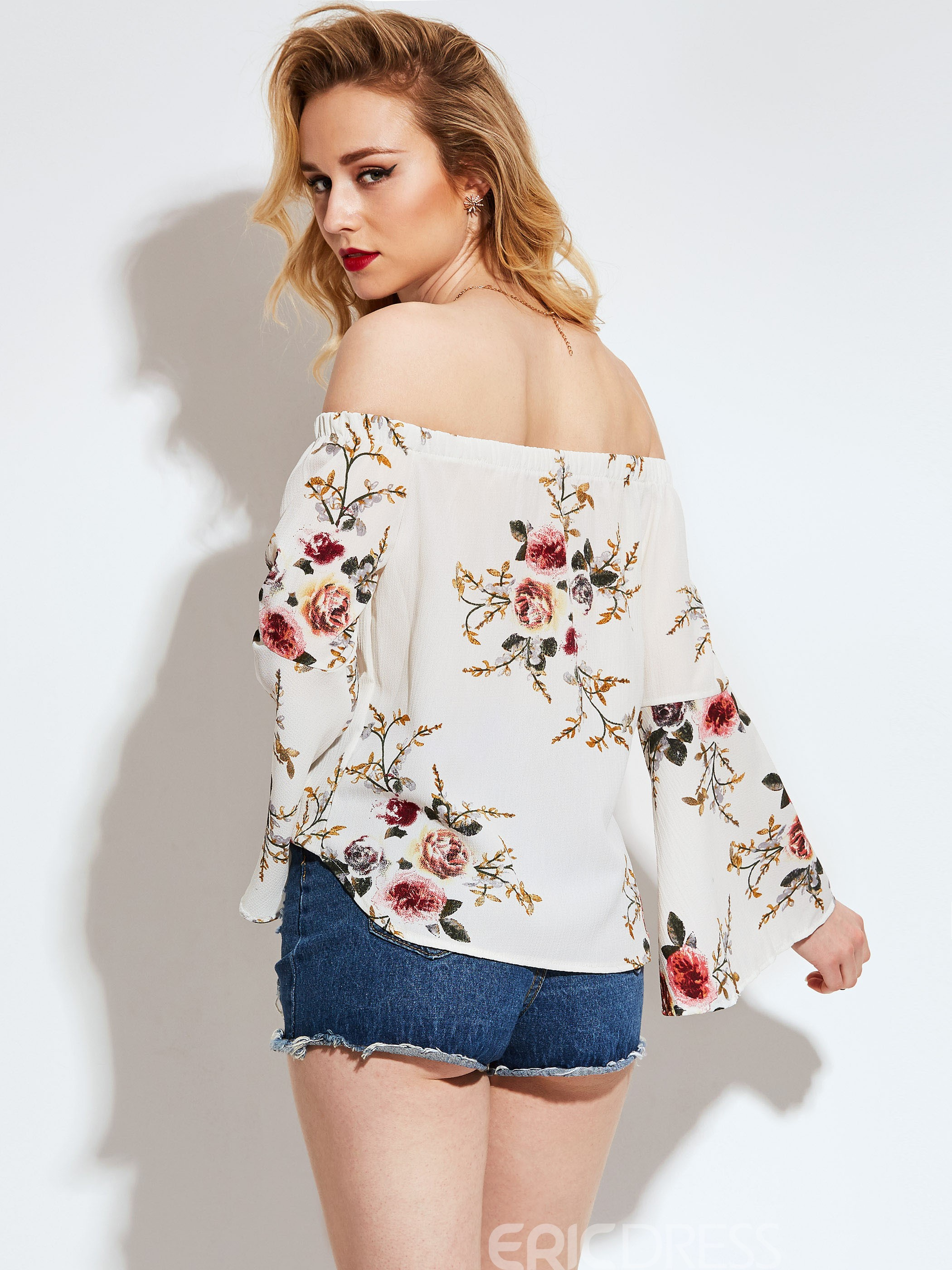 Ericdress Off-Shoulder Flowerl Print Blouse