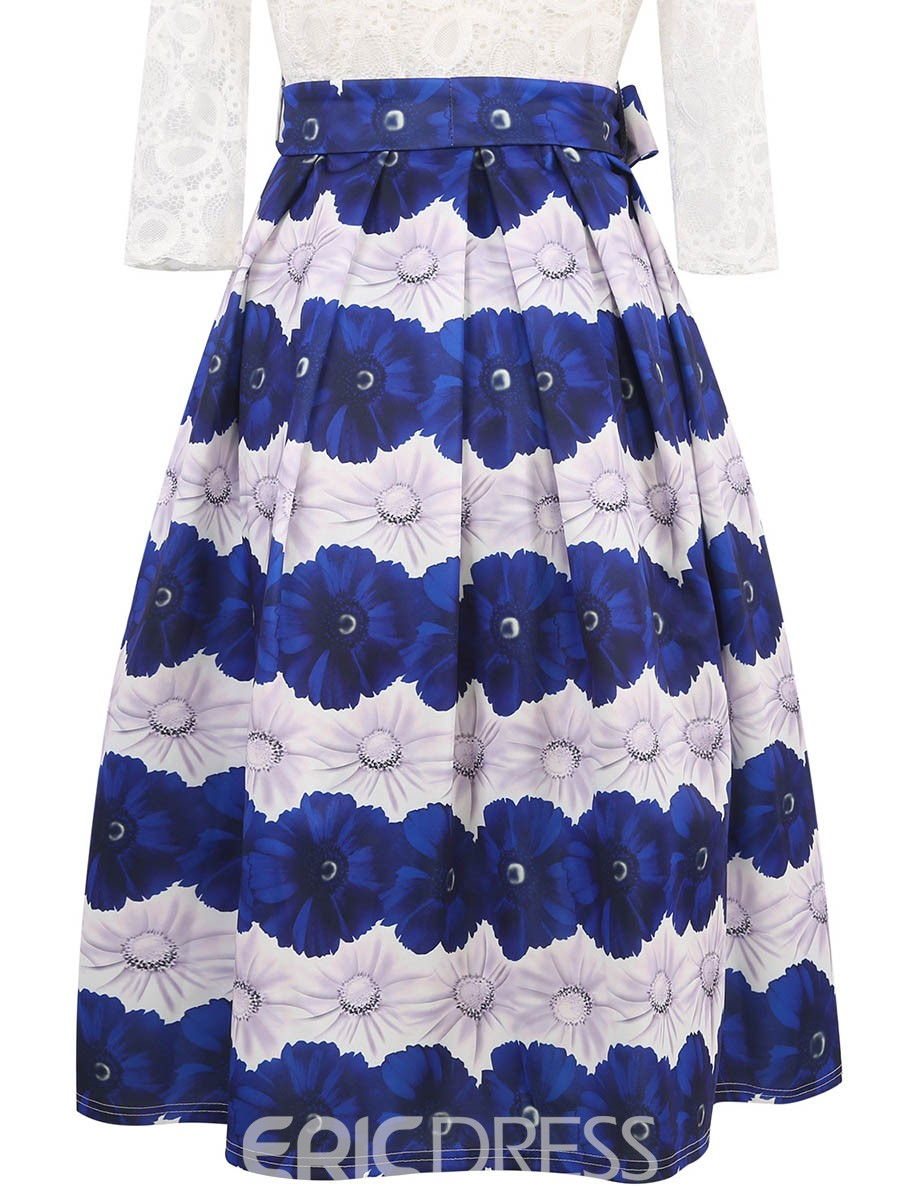 Ericdress Patchwork 3/4 Length Sleeves Bowknot-Tied A Line Dress