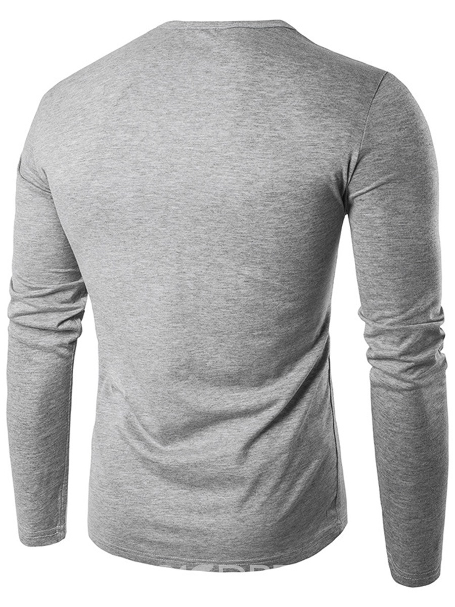 Ericdress Unique Zip Patched Iregular Casual Men's T-Shirt