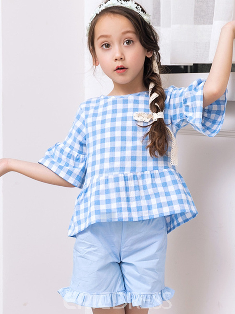 Ericdress Plaid Flare Sleeve Shirt with Shorts Girls' Outfit