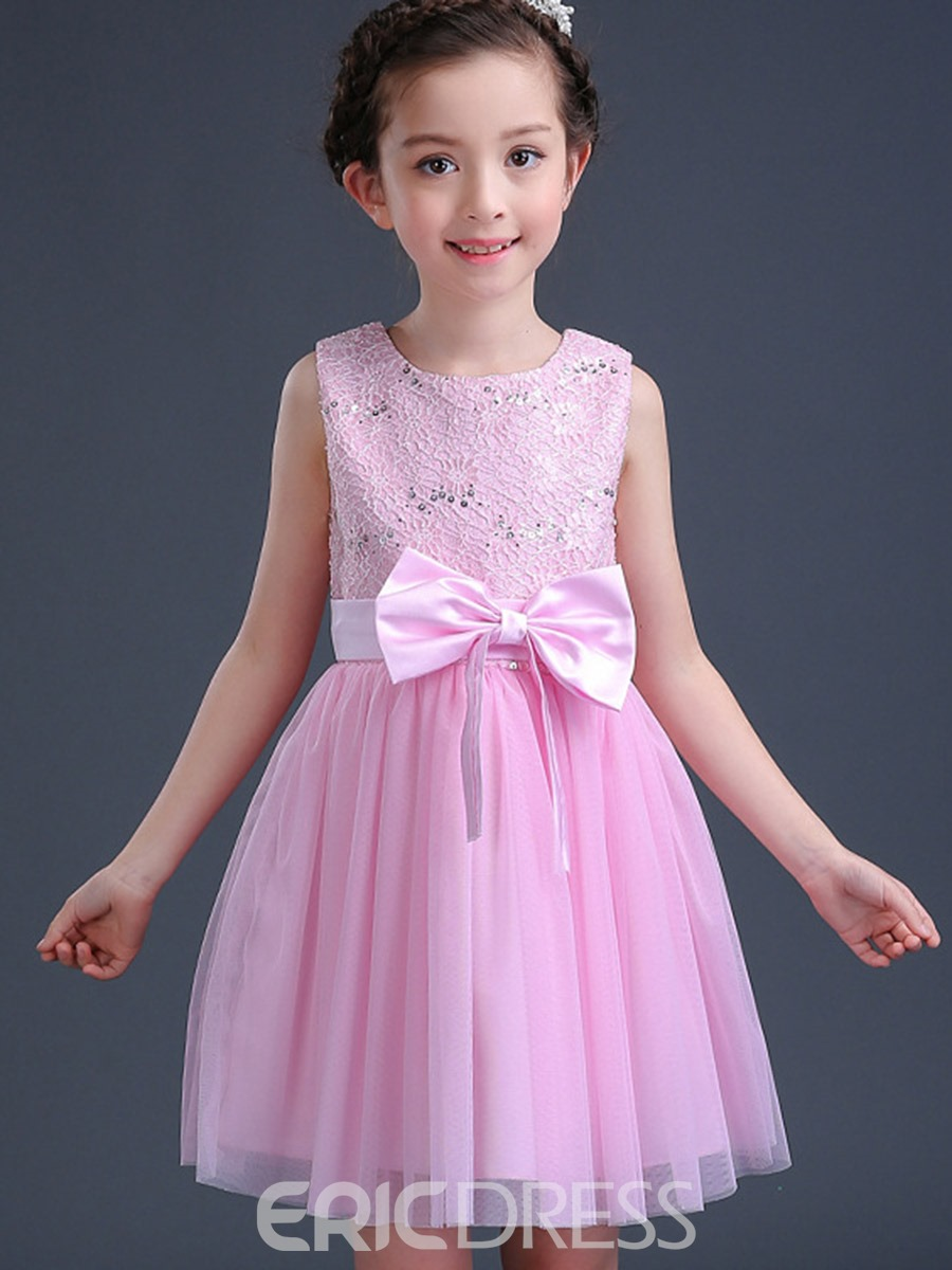Ericdress Ladylike Hollow Pink Bowknot Girls Princess Dress