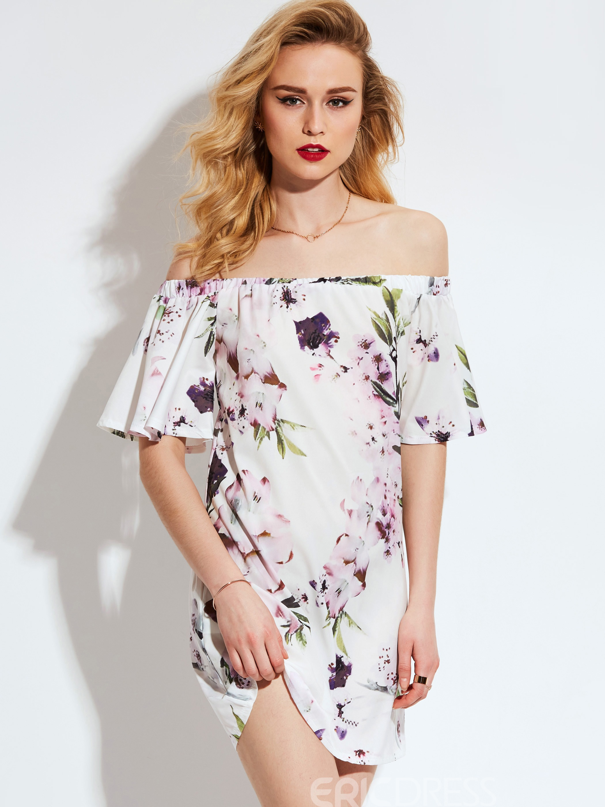 Ericdress Slash Neck Floral Print A-Line Dress