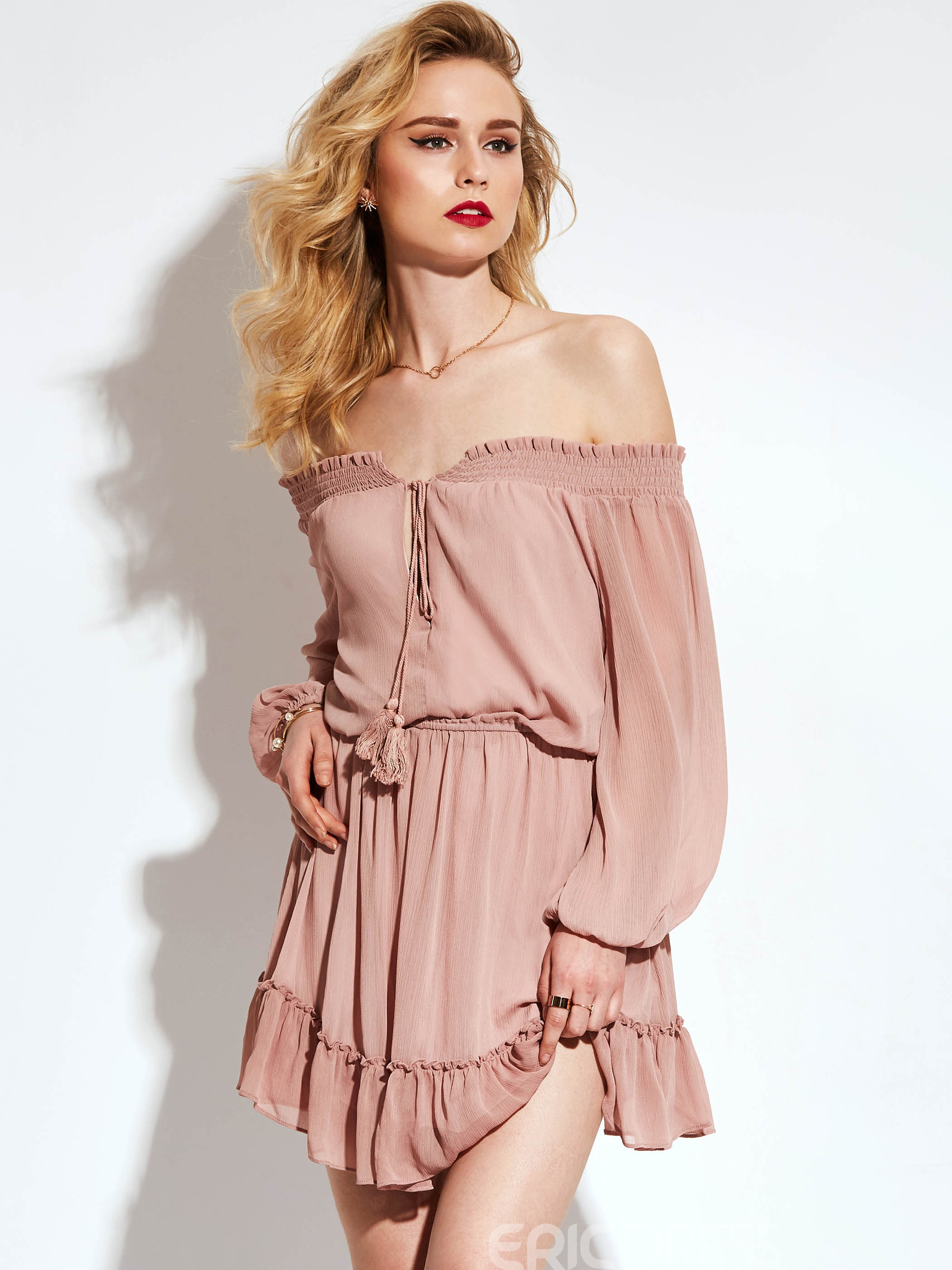 Ericdress Off-The-Shoulder Lantern Sleeve Ruffles A Line Dress
