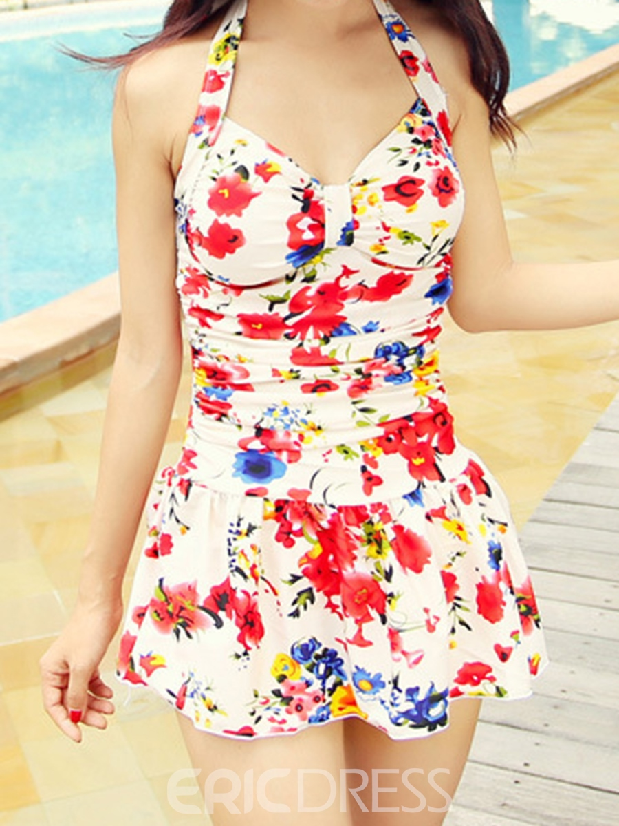 Ericdress Lace-up Print Pleated One Peice Plus Size Swimwear