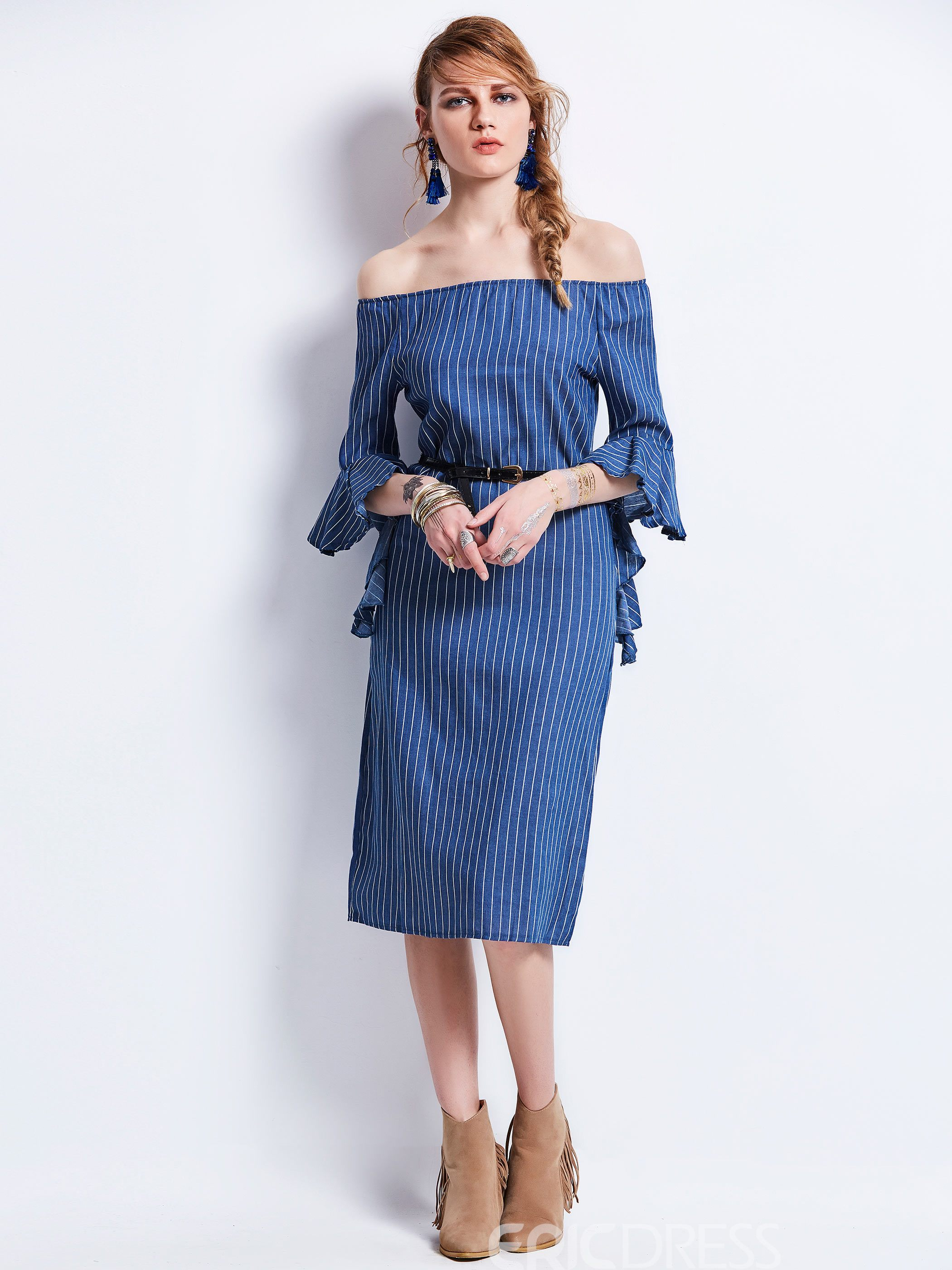 Slash Neck Flare Sleeves Stripe Women's Day Dress