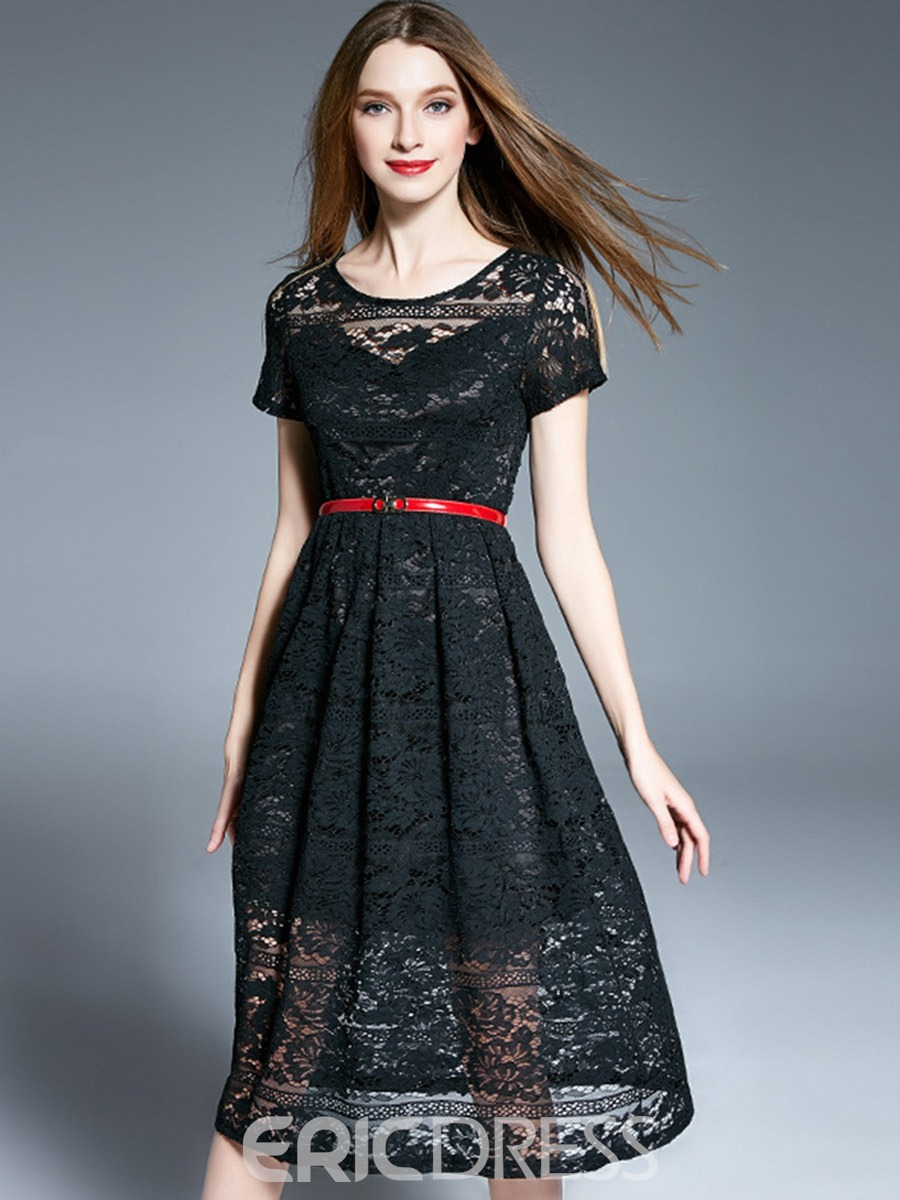 Ericdress Hollow Scoop Expansion Mid-Calf Lace Dress