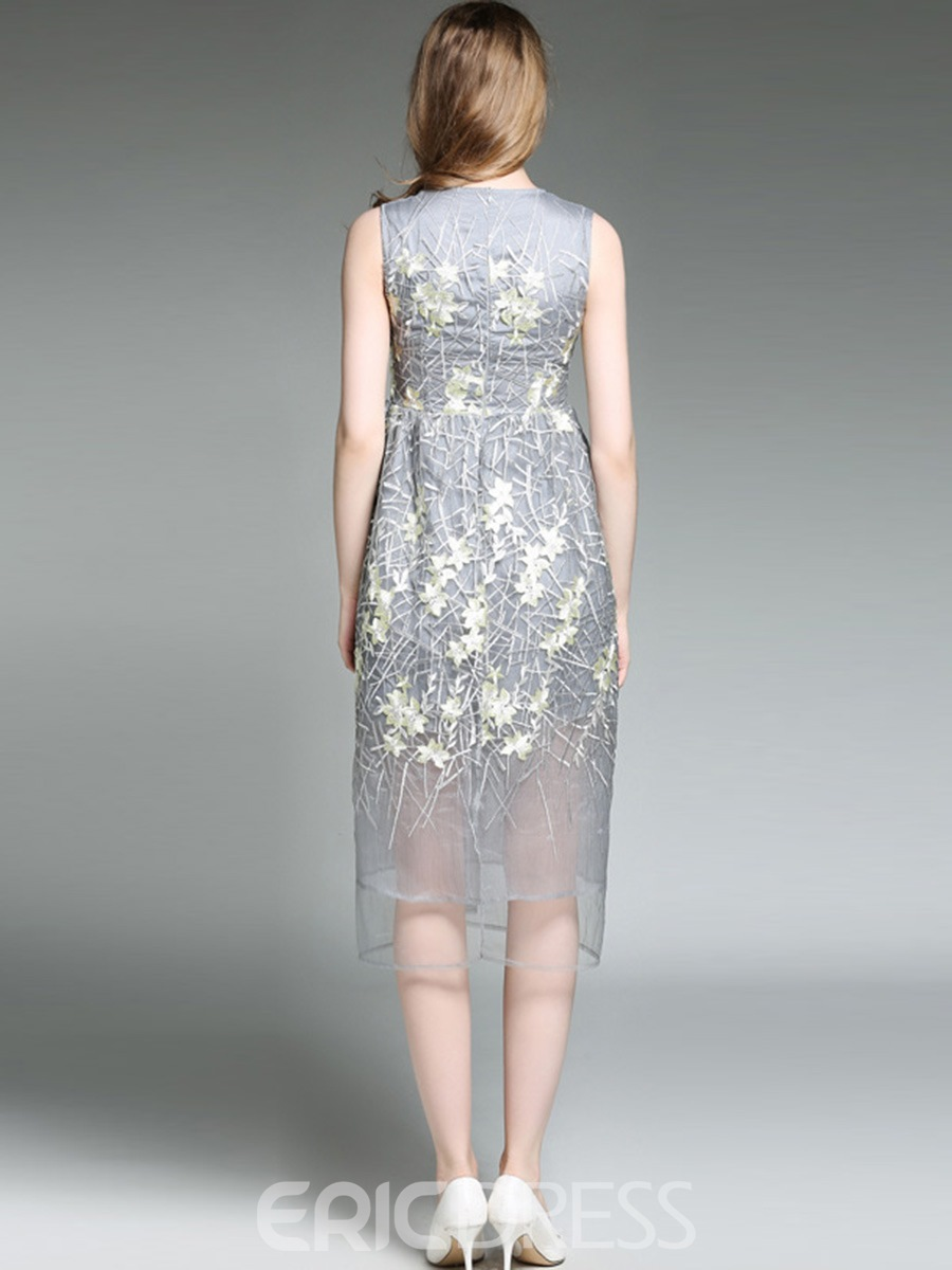 Ericdress Exquisite Embroidery MeshSleeveless A Line Dress