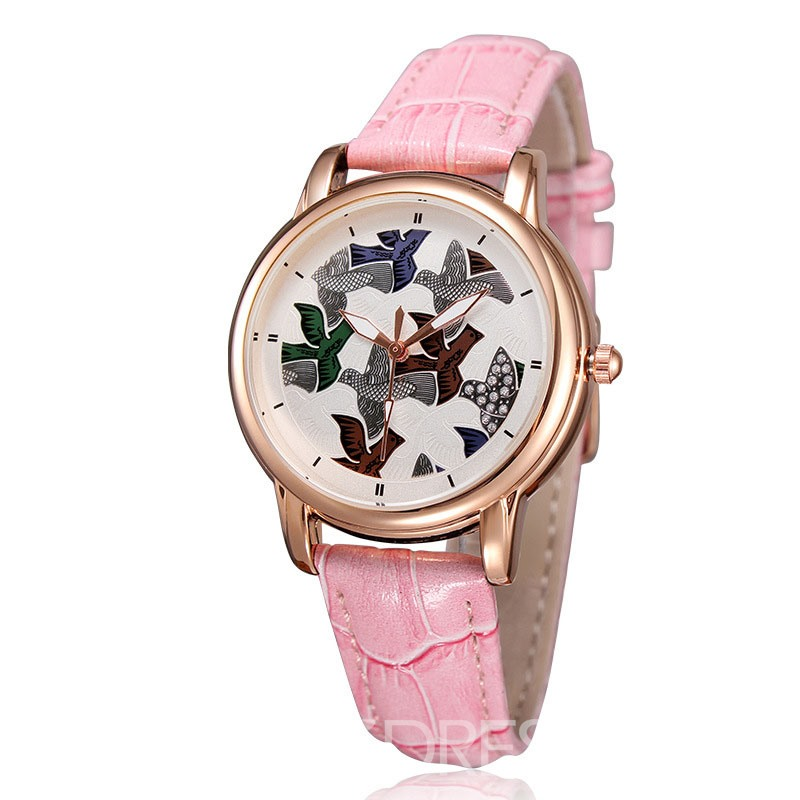Eridress Trendy Leather Band Waterproof Women's Watch