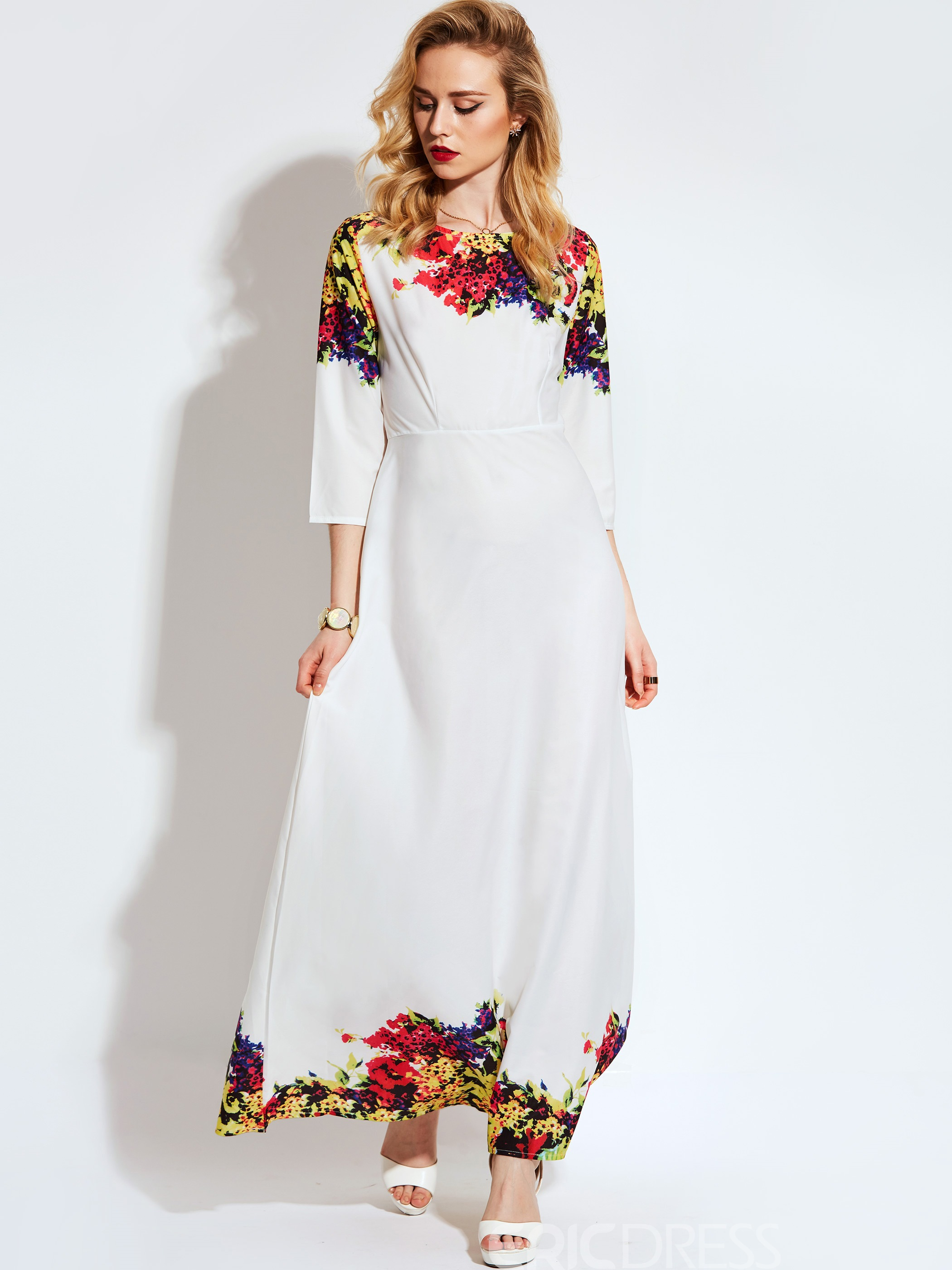 Ericdress Floral Print3/4 Length Sleeves Expansion Maxi Dress
