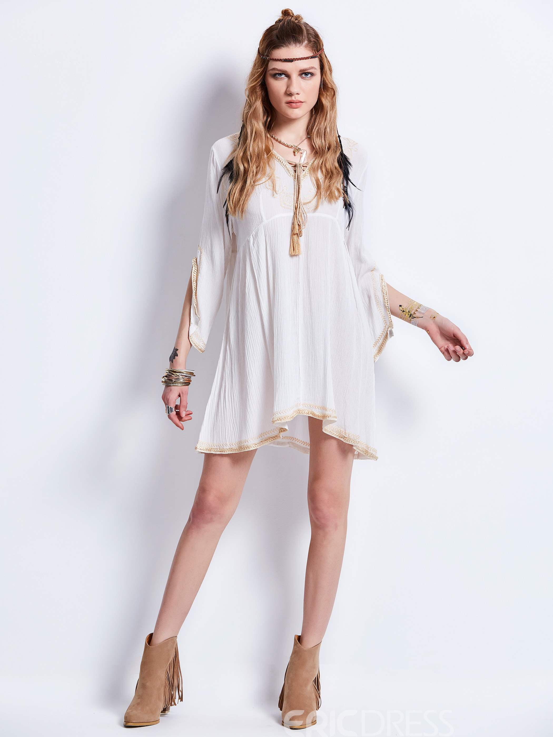 Ericdress V-Neck Embroidery Flare Sleeves Mid-Length Blouse