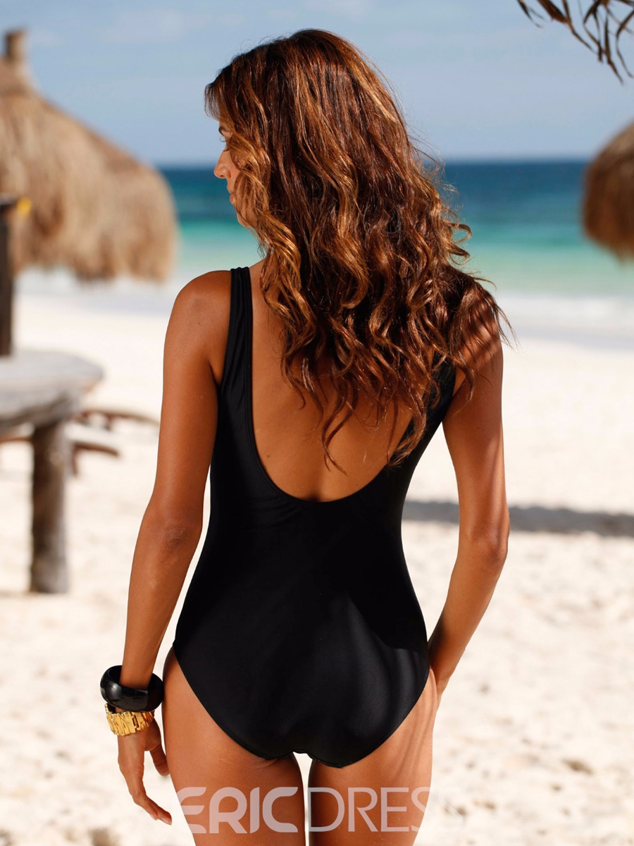d47237c5b29a5 Ericdress Simple Pleated Square Neck One-Piece Swimwear 12808518 ...