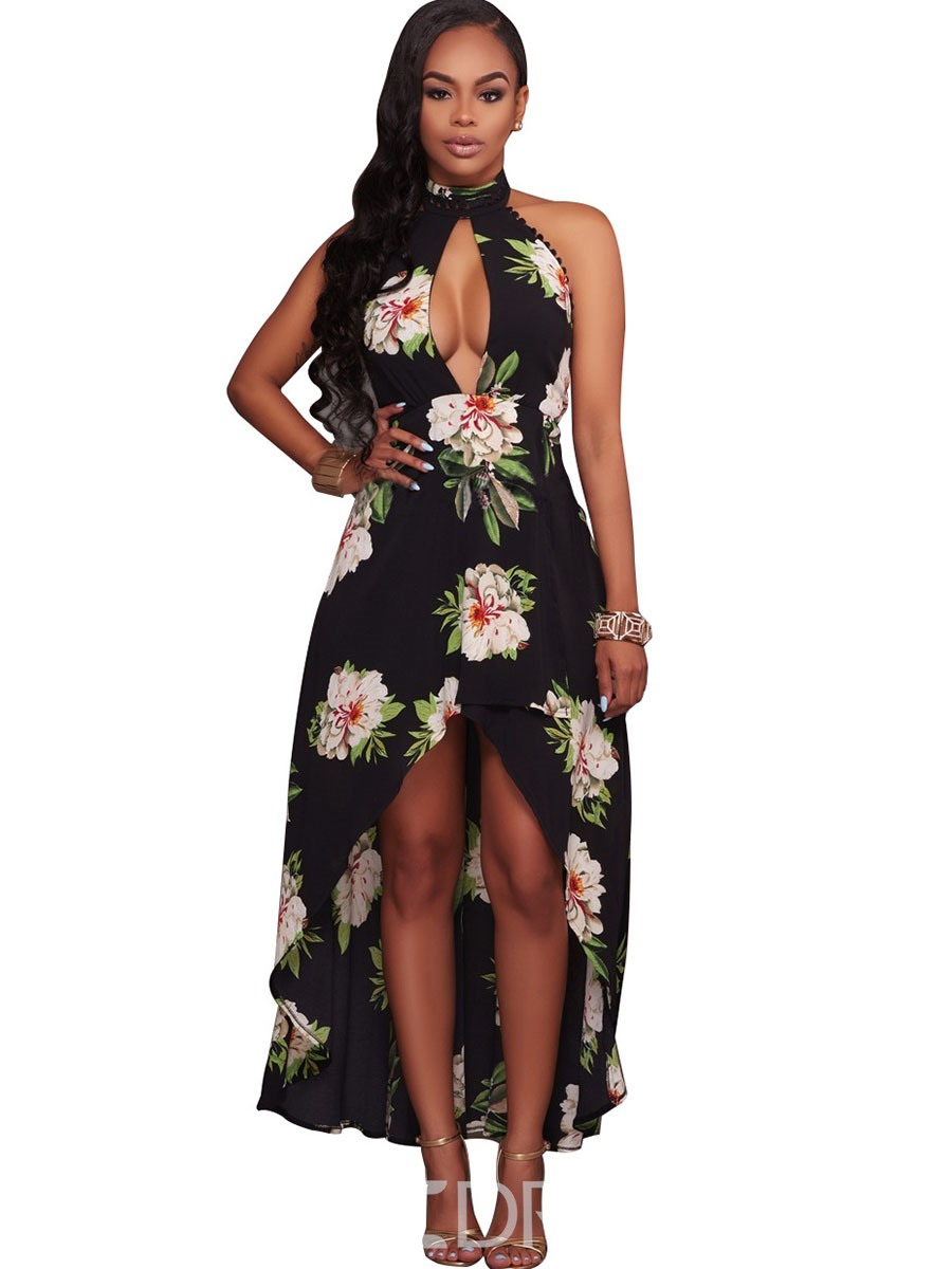 Ericdress Tie-Neck Floral Breast Slit High-Low Maxi Dress