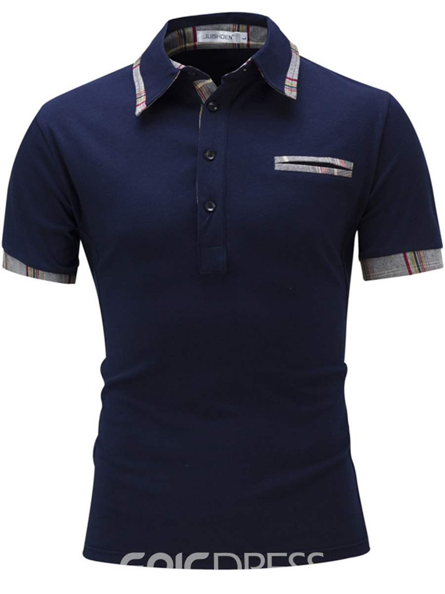 Ericdress Short Sleeve Patched Casual Polo Men's T-Shirt