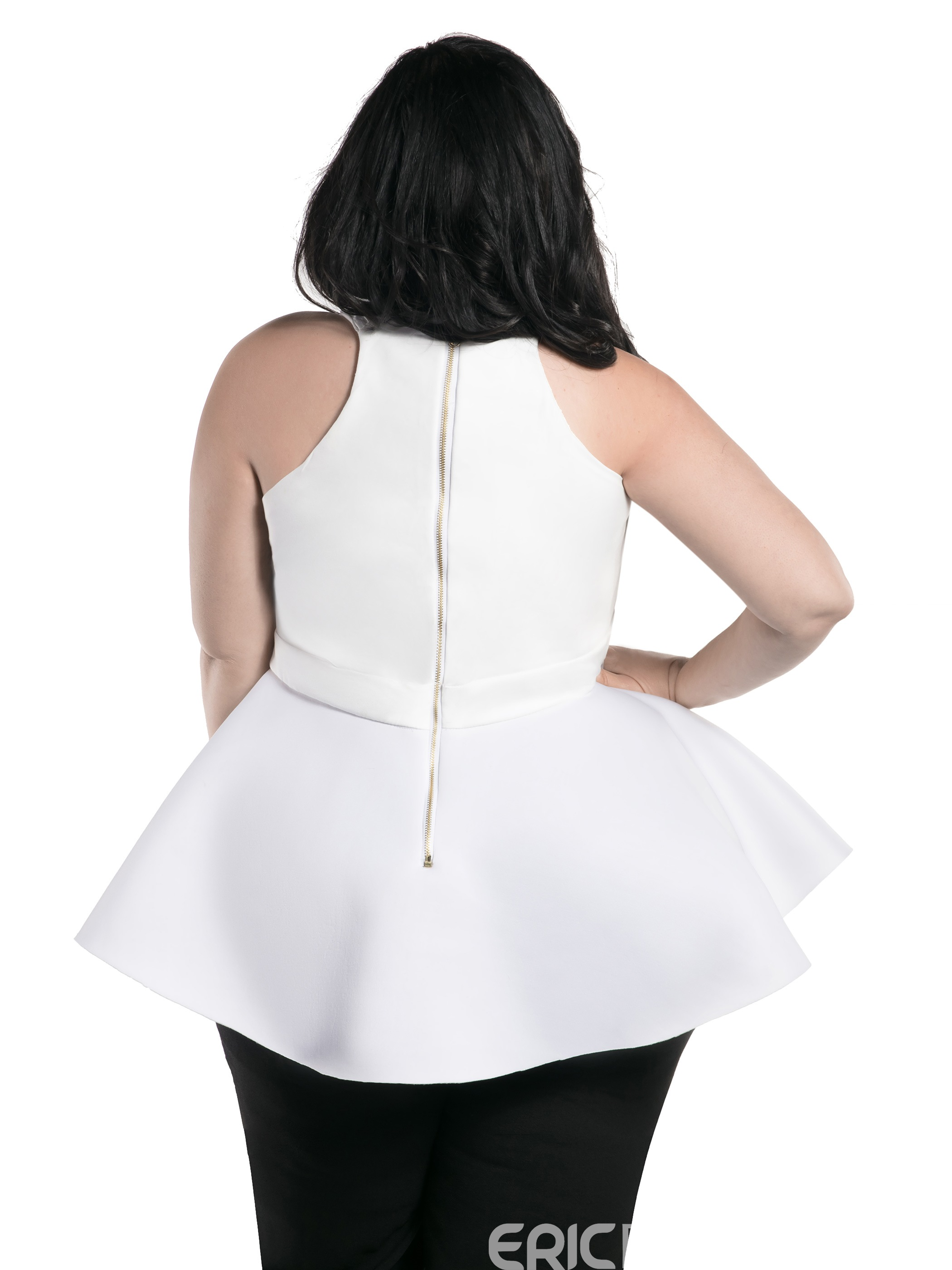 Ericdress Peplum Plus Size Zipper Vest