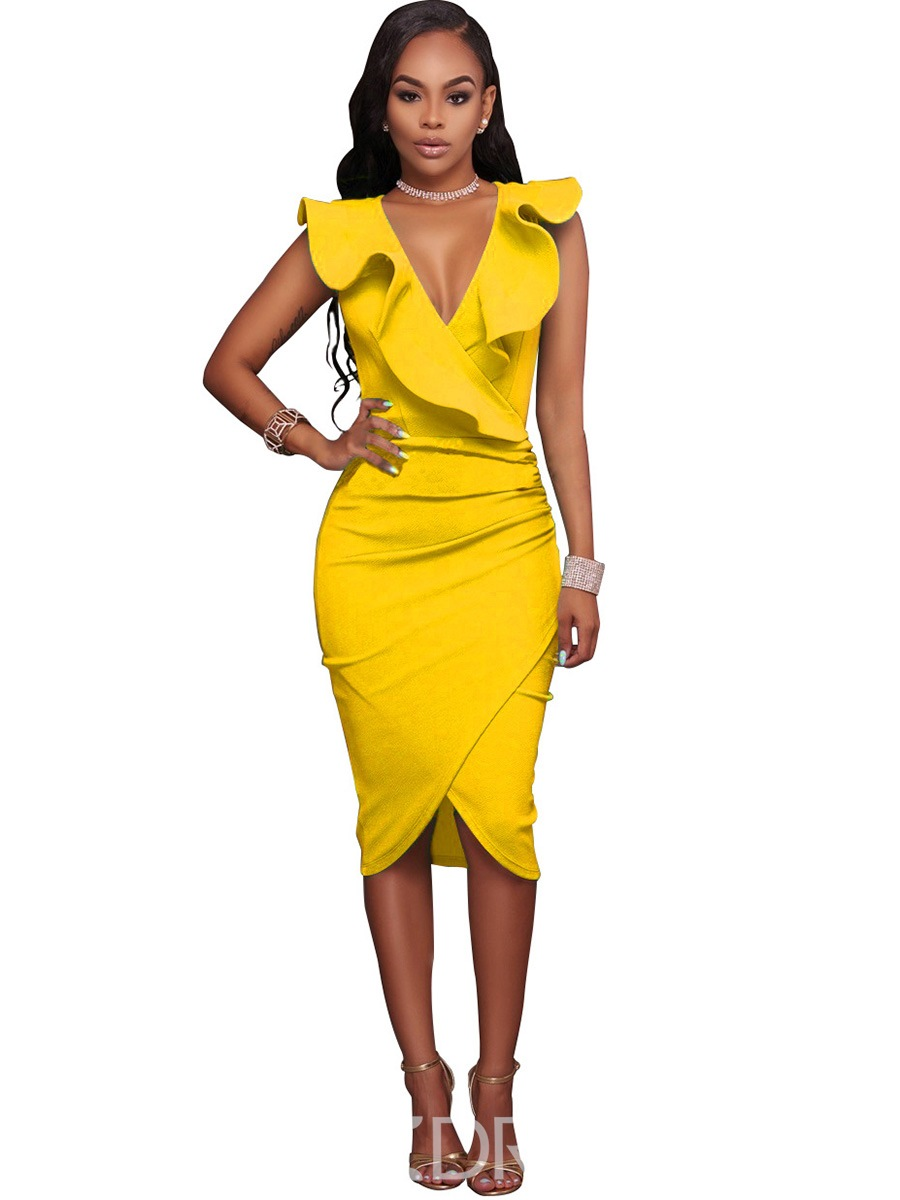 Ericdress V-Neck Falbala Asymmetric Bodycon Dress