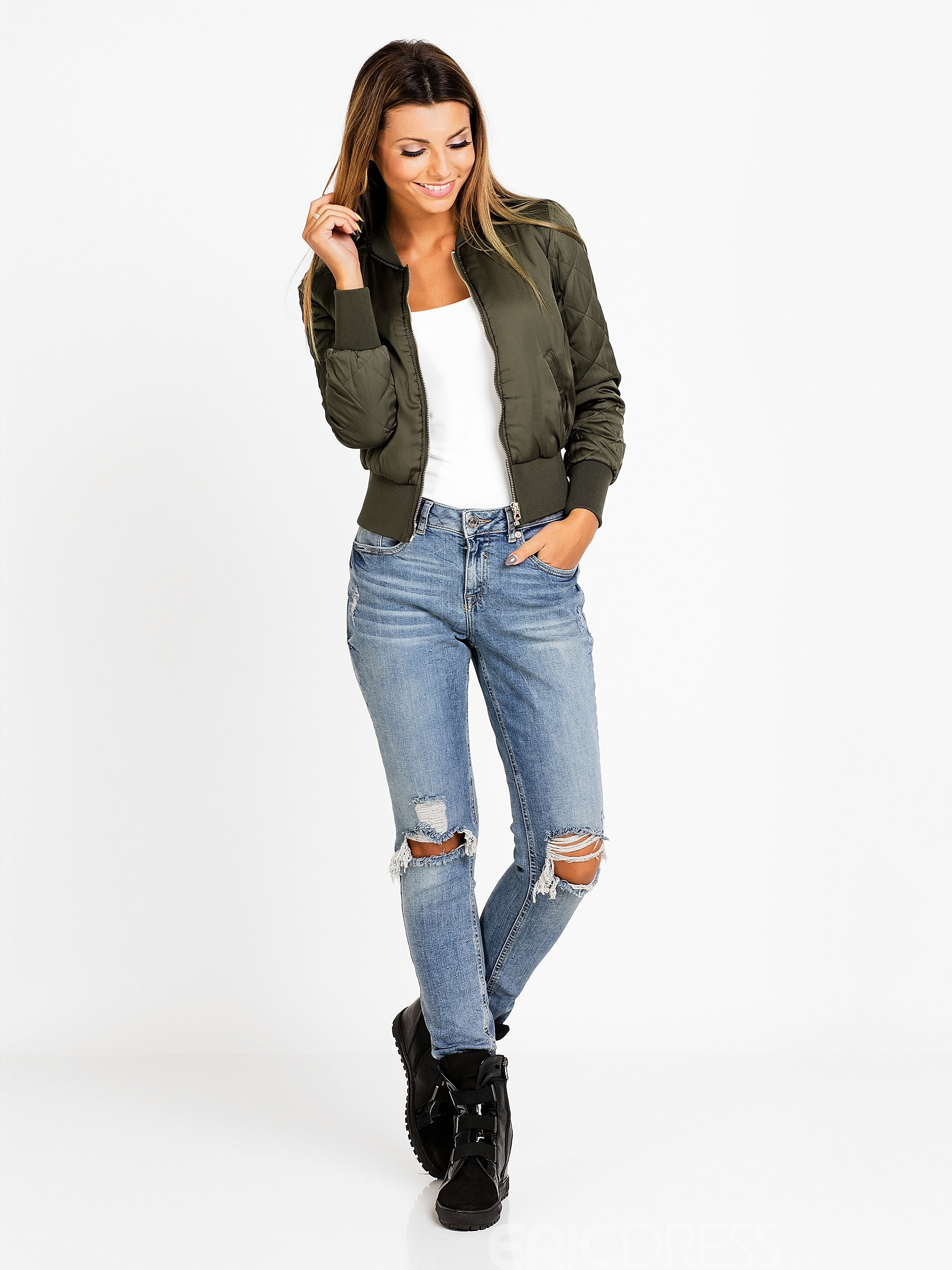 Ericdress Solid Color Round Neck Casual Jacket