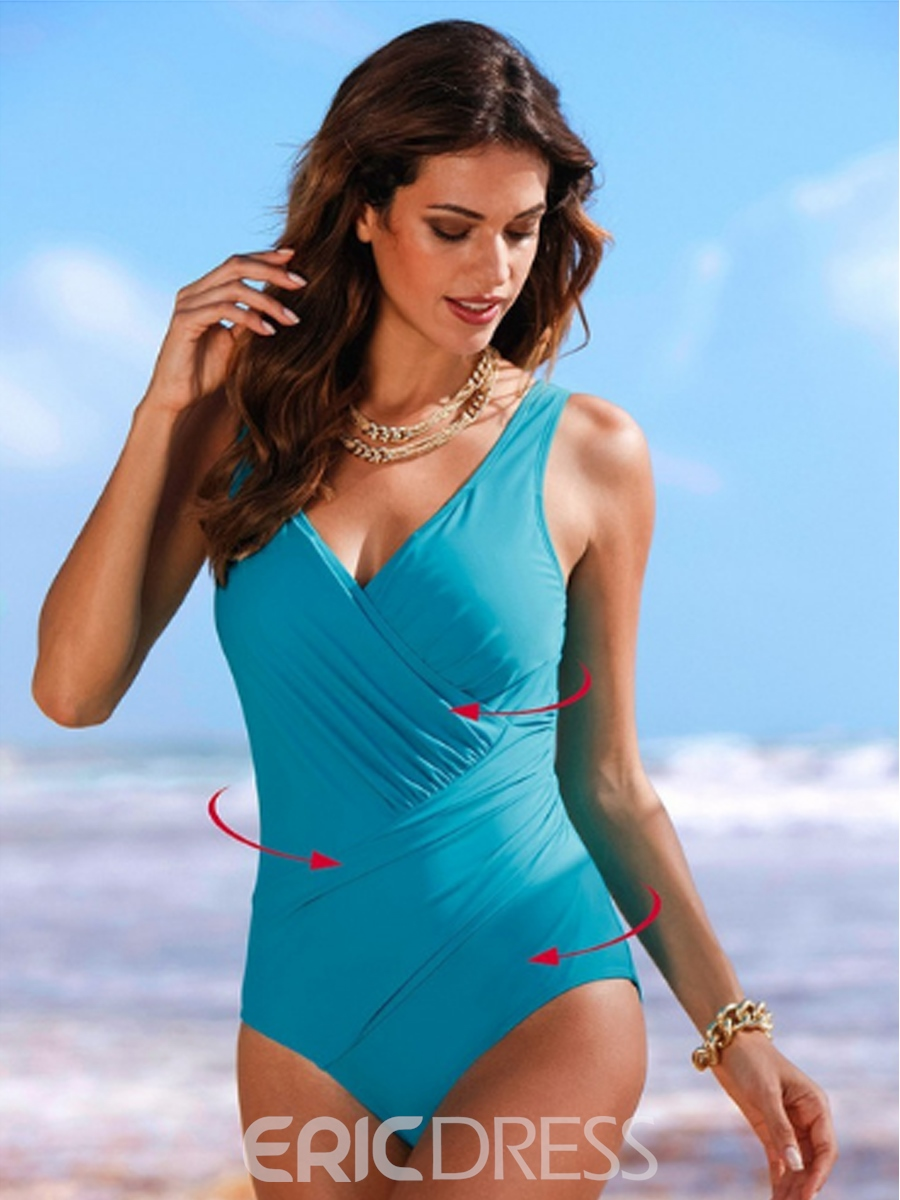Ericdress Charming V--Neck Pleated Monokini