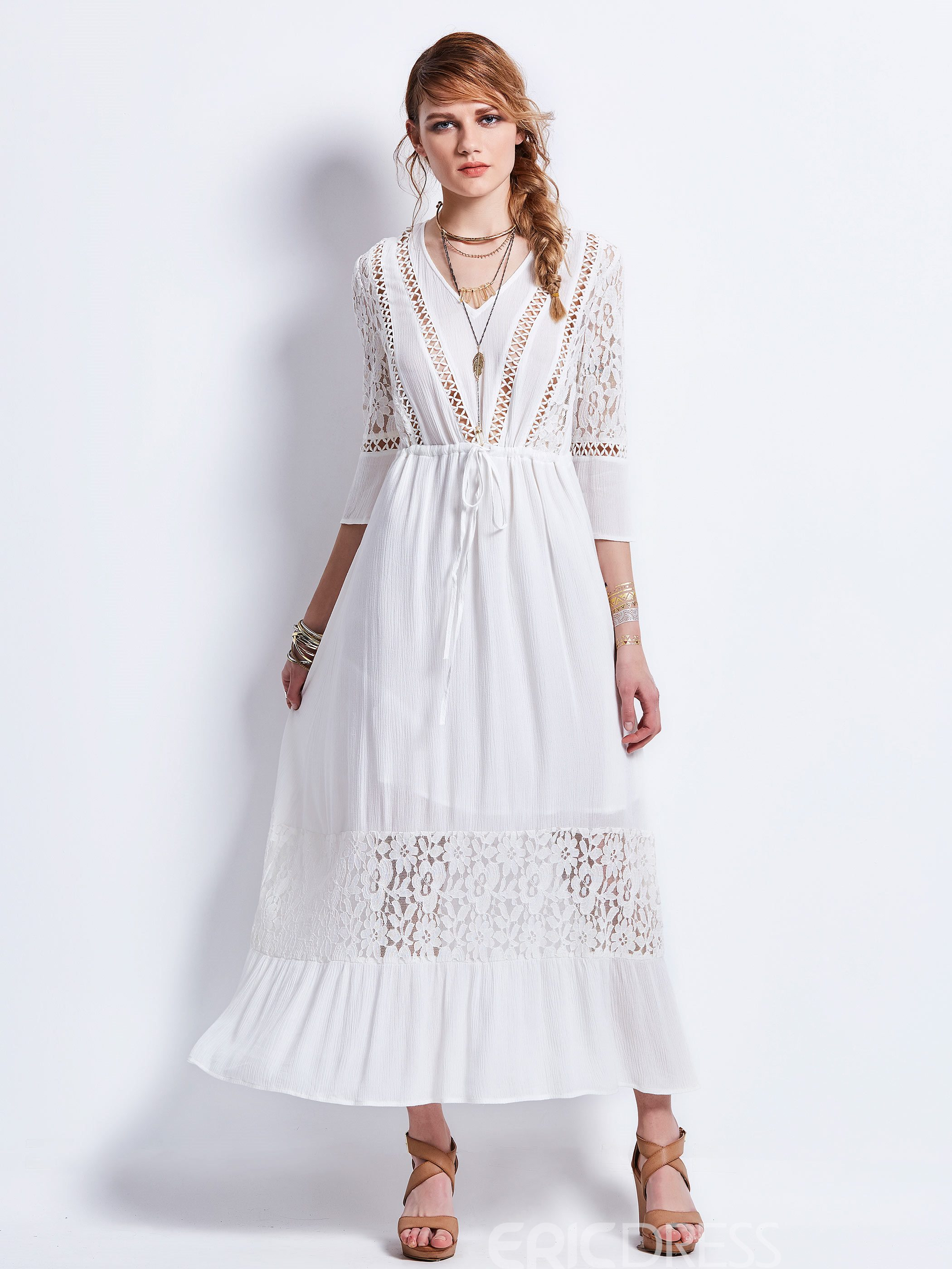Ericdress Drawstring Lace Patchwork Maxi Dress