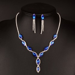 Ericdress Sparkling Blue Sapphire Two-Piece Jewelry Set for Bride ericdress