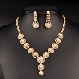 Ericdress Luxurious Pearl Diamante Jewelry Set