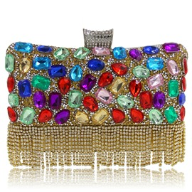 Ericdress Colorful Rhinestone Tassel Banquet Evening Clutch
