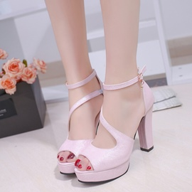 Ericdress Solid Color PU Platform Peep Toe Chunky Sandals