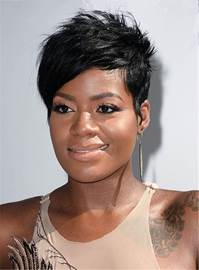 Ericdress Fantasia Barrino Short Boy Cut Layered Straight One Side Part Bangs Pixie Synthetic Hair Capless Cap Wigs 6 Inches