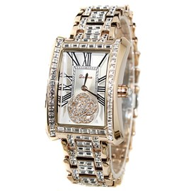 Ericdress Splendid Square Dial Diamante Rose Gold Watch