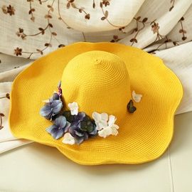 Ericdress Foldable Flower Decorated Women's Sunhat