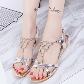 Ericdress Bohemian Rhinestone Decorated Flat Sandals