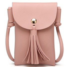 Ericdress Stereo Pure Color Tassel Shoulder Bag