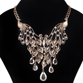 Ericdress Diamante Luxurious Peacock Waterdrop Charm Necklace