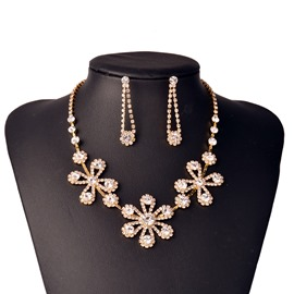 Ericdress High Quality Gold Wintersweet Diamante Jewelry Set